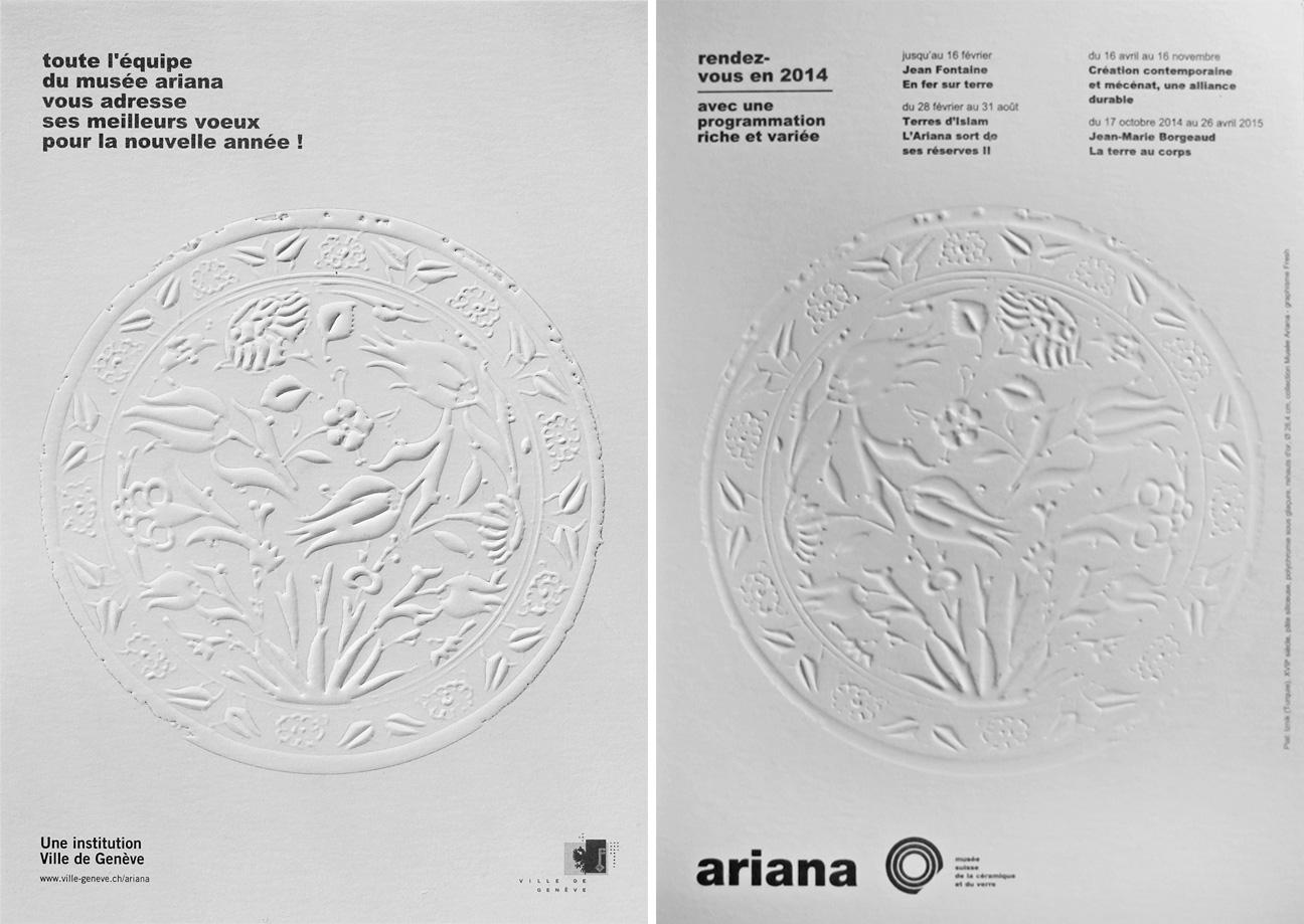 communication visuelle pour les cartes de voeux du Musée Ariana (à Genève)
