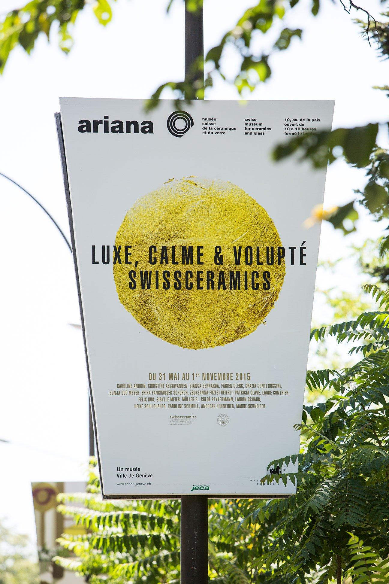 affiche graphique de l'Ariana: Luxe, Calme et Volupté (Swissceramics)